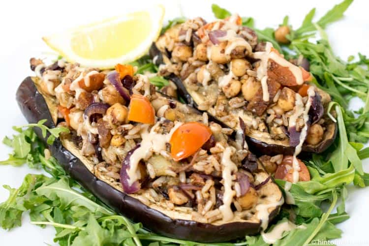 Chickpea & Apricot Stuffed Aubergine by Mindful Chef