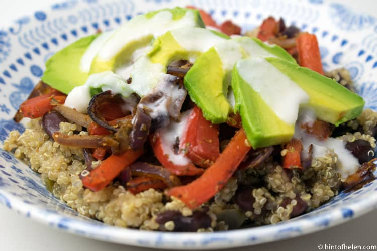 Vegan Fajita bowl with spicy quinoa & avocado by Mindful Chef