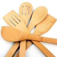 5 x Piece Bamboo Wooden Utensils Set