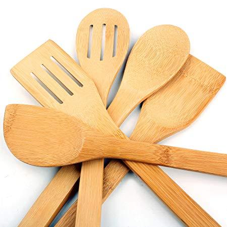 5 x Piece Bamboo Wooden Utensils Set