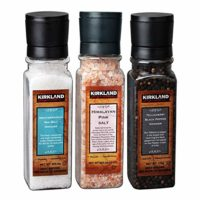 Sea Salt, Himalayan Pink Salt, Tellicherry Black Pepper Grinder Set, 3 Pack Set