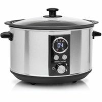 Andrew James Slow Cooker Sizzle to Simmer 3.5L | Digital Auto Setting with Tempered Glass Lid and Removable Bowl | Silver