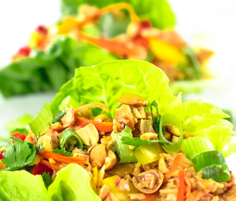 Slow Cooker Satay Chicken Lettuce Cups
