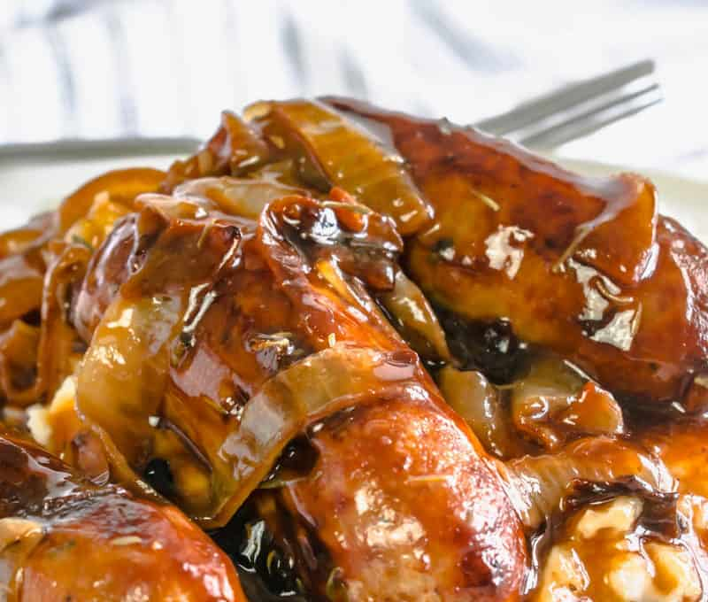 Actifry Sausages with Onion Gravy