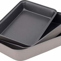 Space Home Abert-Non Stick Deep Oven Baking Tins Trays-Roasting Pan-3 Piece Set-Made in Italy, steel Grey 30 cm