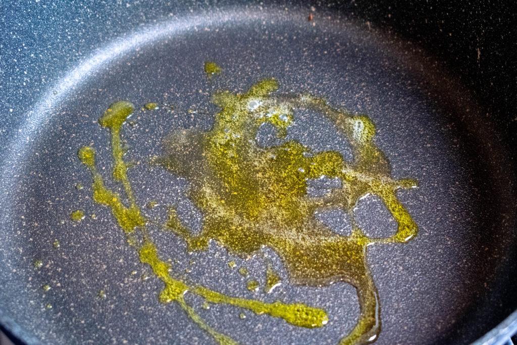 hot oil in pan