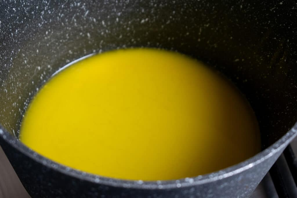 melted butter in pan