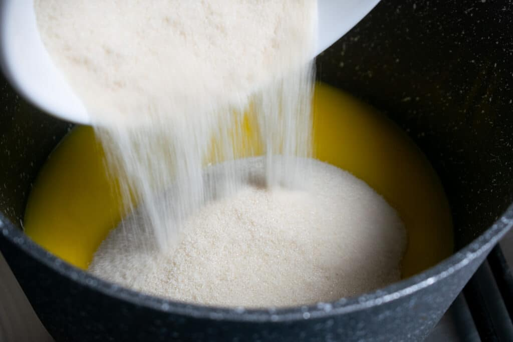 sugar into butter