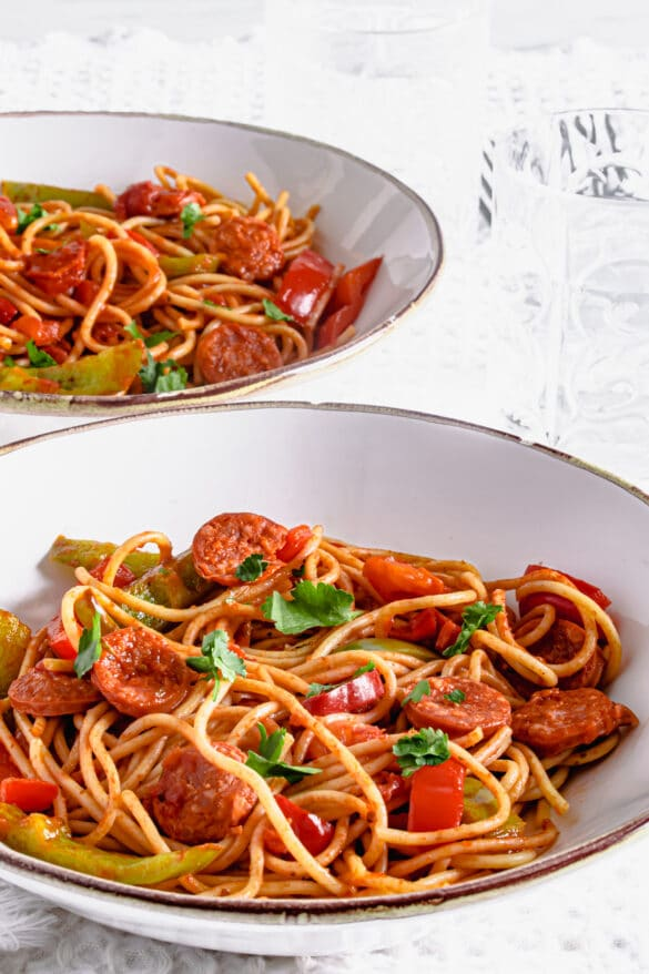 Actifry Chorizo and Peppers Spaghetti Recipe