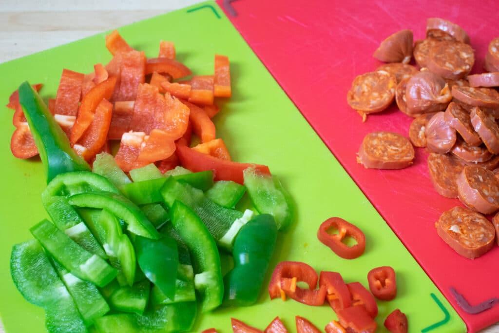 chopped chorizo and pepeprs