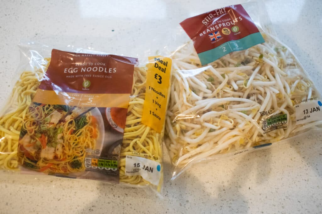 noodles and beansprouts