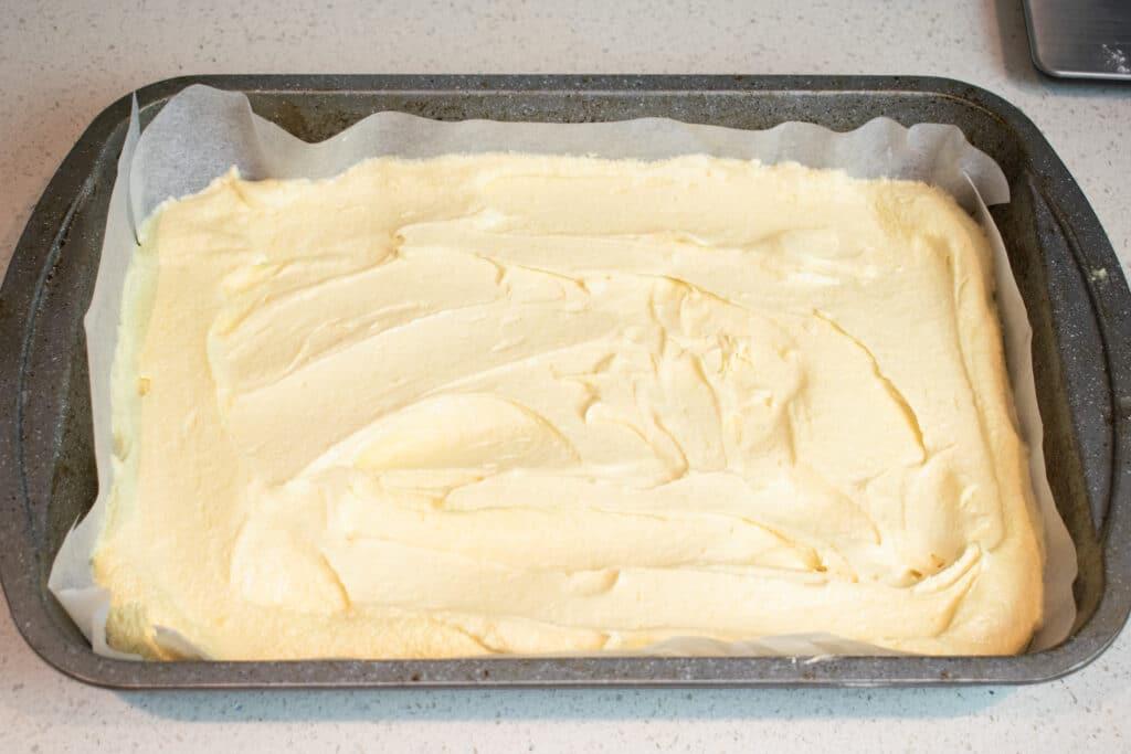 cake batter in tin